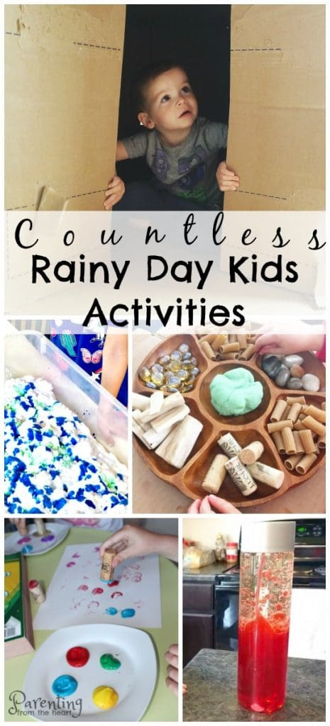 Find awesome rainy day toddler activities. These simple kids activities are fun and wonderful for play-based learning.