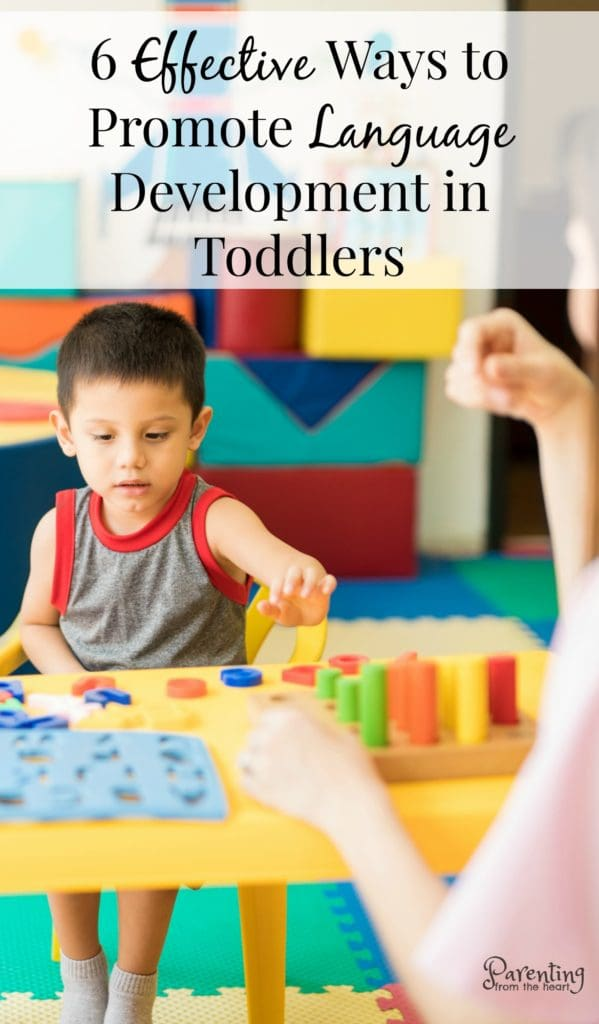 Here are six ways to promote language development in toddlers and young children. They're simple strategies that work. #languagedevelopment #parenting #parentingtoddlers #languagedevelopment #parentingtoddlers #toddlers #childdevelopment #parentingfromtheheart