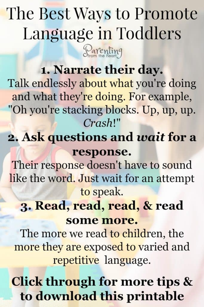 Here are six ways to promote language development in toddlers and young children. They're simple strategies that work. #languagedevelopment #parenting #parentingtoddlers #parentinghacks #parentingtips #learning #toddlers