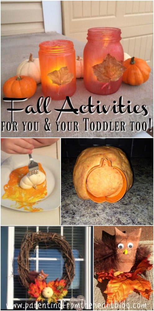 These Fall Toddler activities are REALLY easy to set up and your toddler can do with minimal help! Make Fall Lanterns, engage in sensory play using pumpkin play dough, make a 5 minute Fall wreath, toilet paper roll owls and more! Play based learning, learning through play, toddlers, preschoolers, Fall fun.