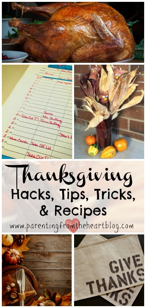 Find all sorts of Thanksgiving tips, tricks, hacks, and recipes including simple decoration ideas, ideas on how to keep the kids busy during meal prep and more!