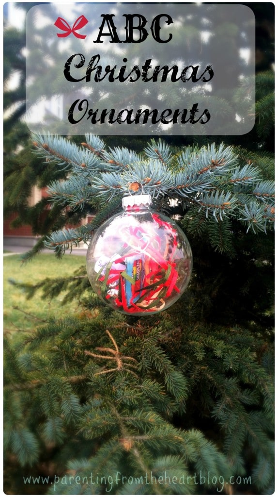 Make these EASY DIY alphabet ornaments with your kids. It just requires a bit of prep beforehand. Includes a free printable to make it extra easy for you. ABC Christmas Ornaments