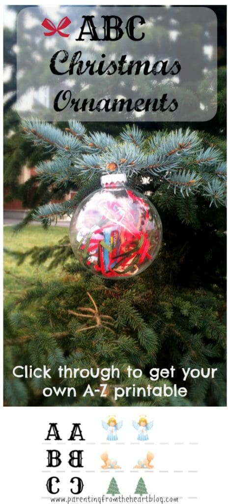 Work on your child's fine motor skills, cutting, hand-eye coordination, pincer grip, letter recognition, and early literacy sounds with these ABC Christmas Ornaments. Click through to get your free printable. Holidays, DIY, easy, Kids activities