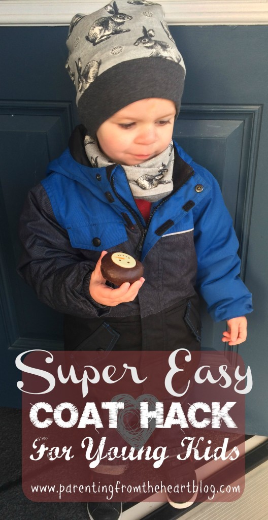 Get your toddlers and preschoolers ready FASTER with this coat hack meant for young kids! Even my two-year-old can do it. Super Easy Coat Hack for Young Kids