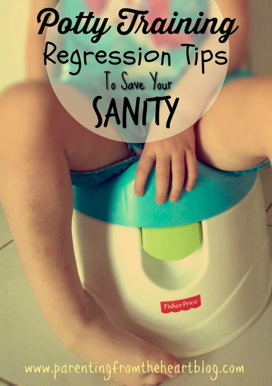 If you've been hit by potty training regression(s) and need perspective and a plan of attack, this post is for you. Find a handful of tips and mantras to face potty training regressions and maintain your sanity!