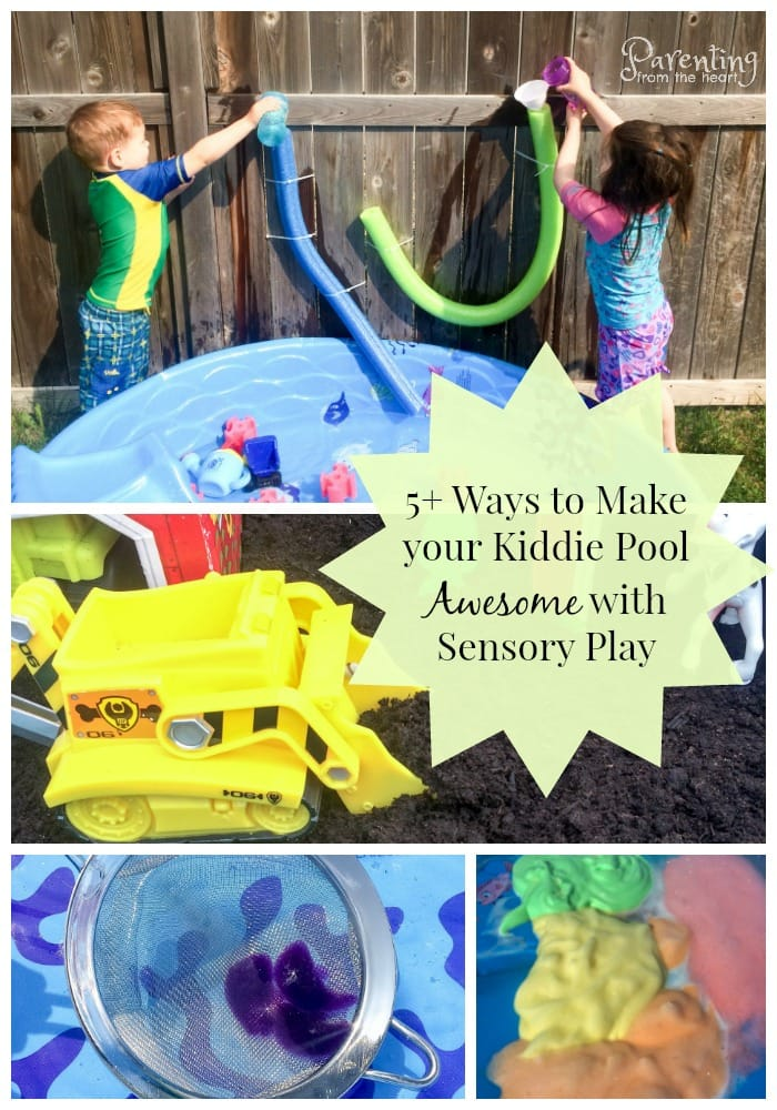 Three sensory play ideas - water and water gun with foam noodles, coloured foam, jello fish in pool Kiddie pools are fun for a brief period of time and then kind of lose their intrigue. Then, parents are left with a massive piece of plastic to store in the backyard or garage. All it takes is a little creativity and some common household items to re-purpose your kiddie pool and make it into a massive sensory bin. It's such a fun way for kids to engage in play-based learning outside.  #sensoryplay #outdoorplay #Kidsactivities #summer #summeractivities #screenfreeactivities #sensorybins #simplekidsactivities #Playbasedlearning #learningthroughplay