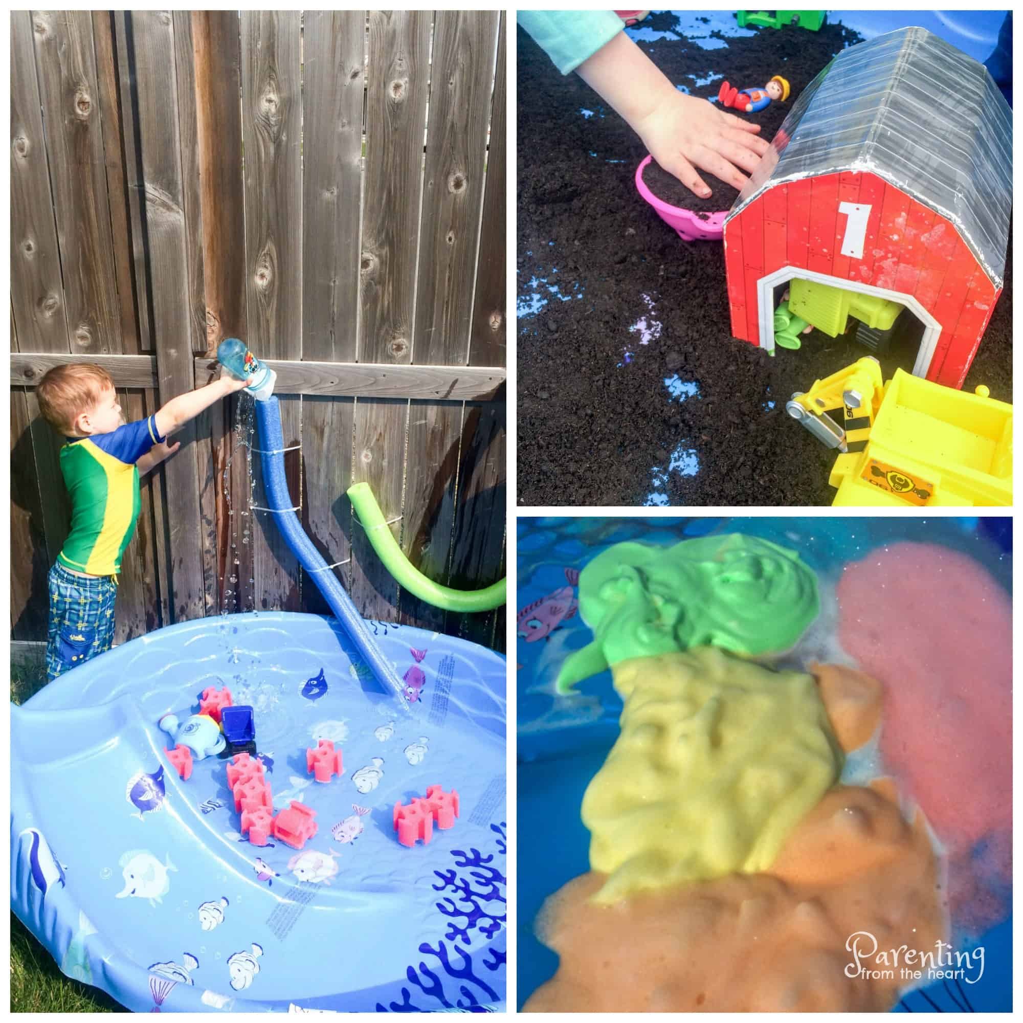 Three sensory play ideas - water and water gun with foam noodles, coloured foam, jello fish in pool Kiddie pools are fun for a brief period of time and then kind of lose their intrigue. Then, parents are left with a massive piece of plastic to store in the backyard or garage. All it takes is a little creativity and some common household items to re-purpose your kiddie pool and make it into a massive sensory bin. It's such a fun way for kids to engage in play-based learning outside.