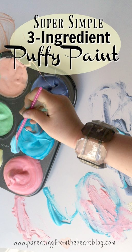 3-ingredient puffy paint is so easy to set-up and so much fun for young kids! Kids activities, play-based learning, DIY paint, Early childhood education, easy DIY