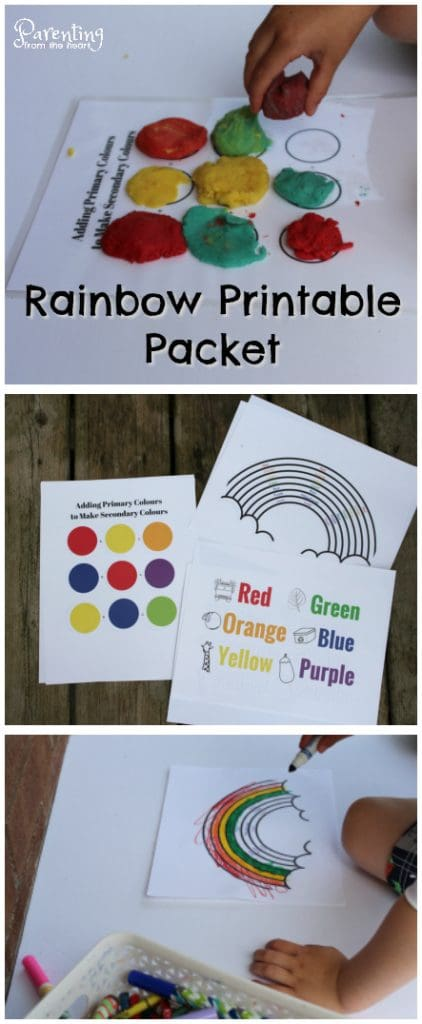 Download these awesome Rainbow activity printables and get bonus material! These activities promote fine motor skills, hand eye coordination, colour, word, and letter recognition and more! These preschool worksheets come with awesome bonus material too!