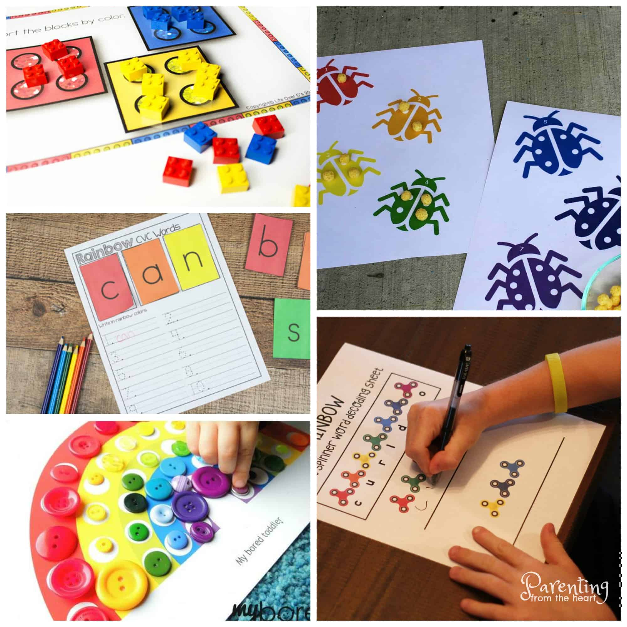 Get fun play-based learning ideas with these rainbow printables for preschoolers. These preschool worksheets are fun, free and are great to promote numeracy, literacy, fine motor and gross motor skills!