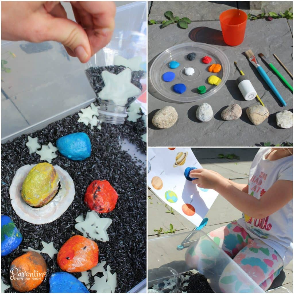 Promote play-based learning with this fun solar system for kids activity! It comes with a free printable packet as well as bonus materials for more ways to play! Perfect for preschoolers, kindergarteners, or any early childhood educators!
