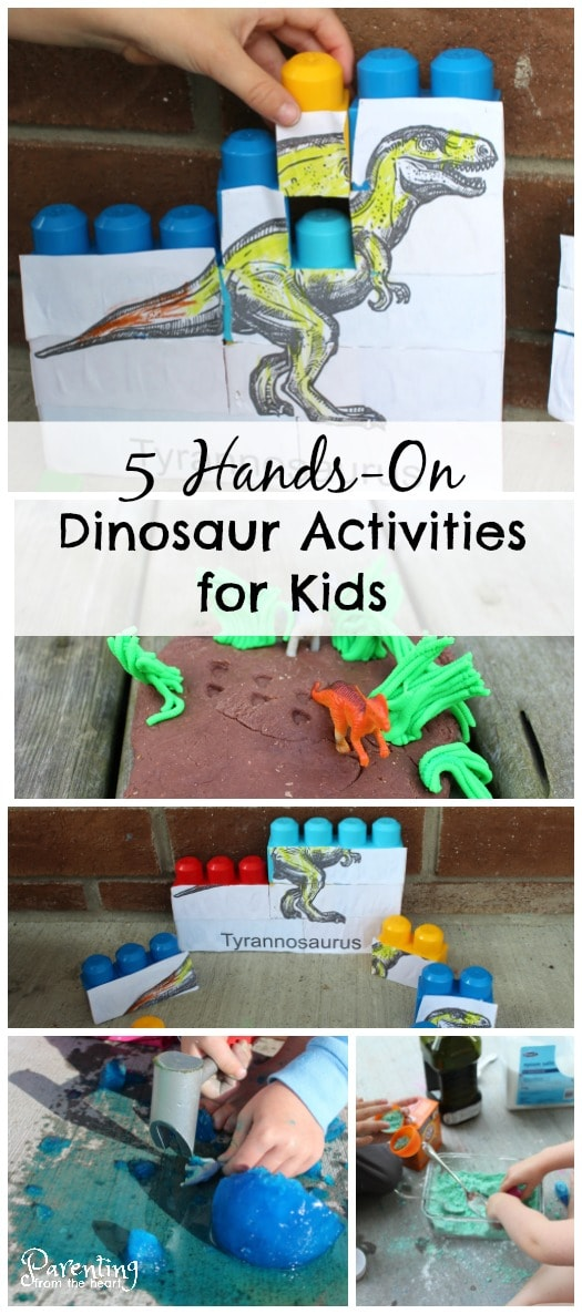 These 5 hands-on dinosaurs for kids activities are rooted in play-based learning. They foster scientific discovery, STEM learning, fine motor skill practice scissor skills and so much for! Comes with a free printable.