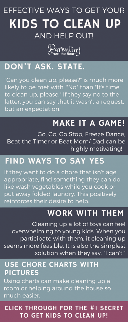 Our home has been consumed by toys. Here's the problem. I'm not ready to start paying allowance yet. In fact, I'm undecided about the whole thing. So I got creative and you know what? It worked. Find the secret to getting your kids to clean up and help out around the house. Comes with a free printable! Parenting from the Heart
