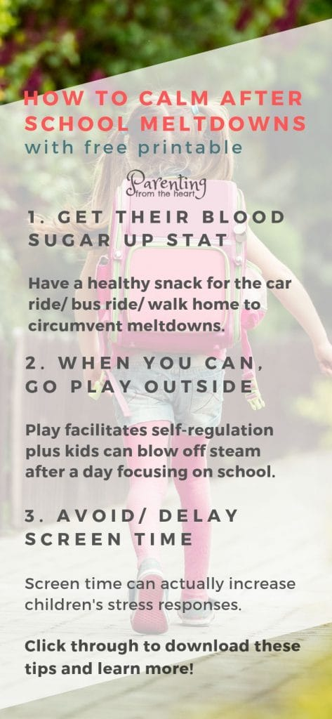 When you pick your child up from school, does your child meltdown? Don't worry. This is totally normal. Find out why self-regulation is so hard for children as well as simple, powerful strategies to promote calmness. #parenting #backtoschool #meltdowns #positiveparenting #Parentingfromtheheart