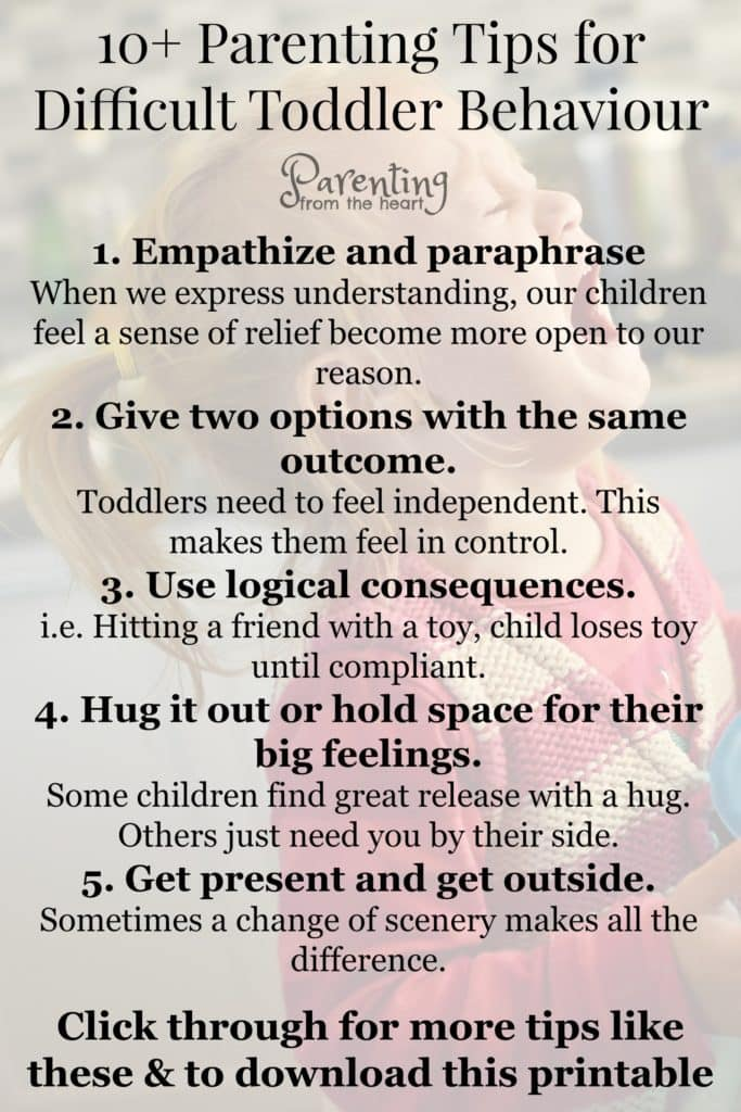 Whether your toddler is prone to tantrums or is particularly strong-willed, these positive parenting tips are some of the best ways to deal with difficult toddler behaviour and meltdowns. #positiveparenting #parenting #parentingtips #parentinghacks #parentingtoddlers #momlife #tantrums #toddlers