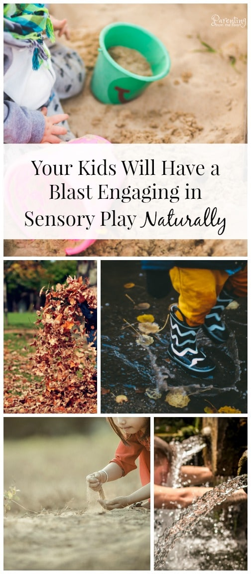 Engage in sensory play naturally with these great ideas. It also keeps most of the mess outside of our house. #sensoryplay #playbasedlearning #naturalplay #childhoodunplugged