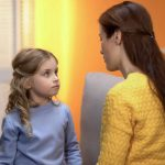 Mother speaks to daughter in a considerate way using positive language instead of negative phrasing