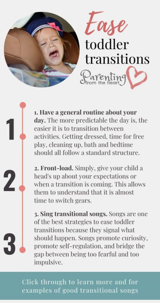infographic with three tips to ease toddler transitions rooted in positive parenting